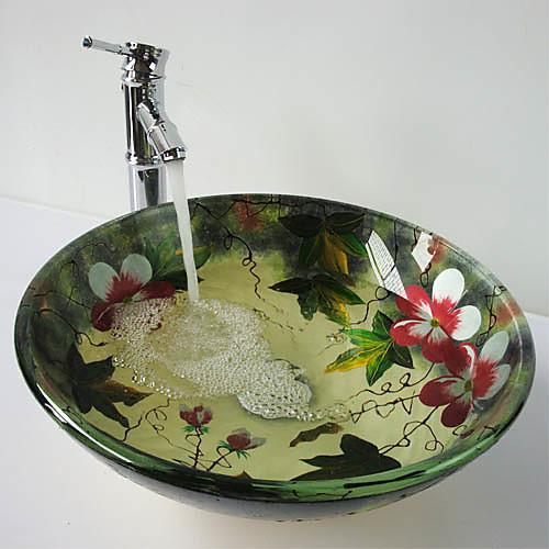 Современный Круглый Раковина Материал является Закаленное стекло смеситель для ванной монтажное кольцо для ванной