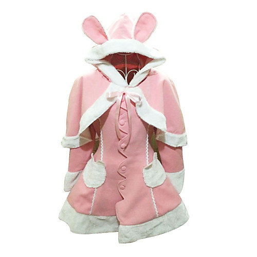 Кролик Девушка с длинным рукавом розовый Velvet Сладкая Лолита Пальто