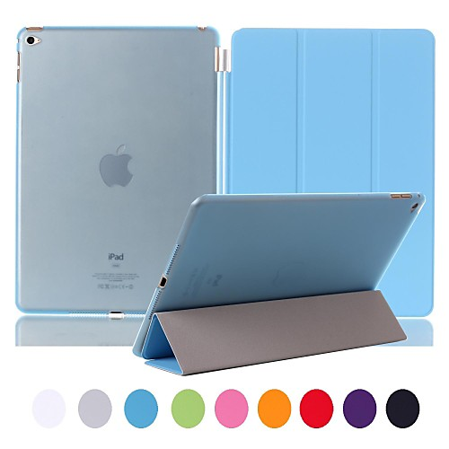 Natusun™ Slim Smart Three Fold The Soft PU Leather Cover Hard Translucent Plastic Shell for iPad Air 2(Assorted Colors)