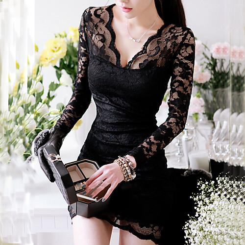 TS Средней длины Кружева Платье TS , Глубокий V-образный вырез , Длинный рукав , Нейлон / Полиэстер