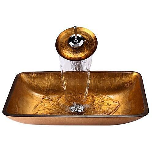 умывальник для ванной / смеситель для ванной / монтажное кольцо для ванной Современный - Закаленное стекло Прямоугольный