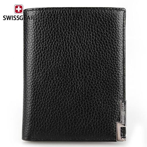 swissgear мужские короткий черный кожаный бумажник