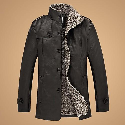sanboer мужчин в зимнее время с бархатной сгущения долго воротник мех кожаной куртке от Lightinthebox.com INT