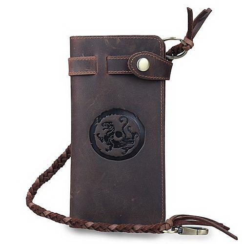 Мужская Ретро Китай ветер длинный кожаный бумажник