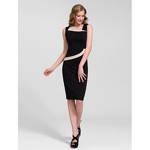 Sheath/Column One Shoulder Knee-length Cotton Semi - Formal Dress