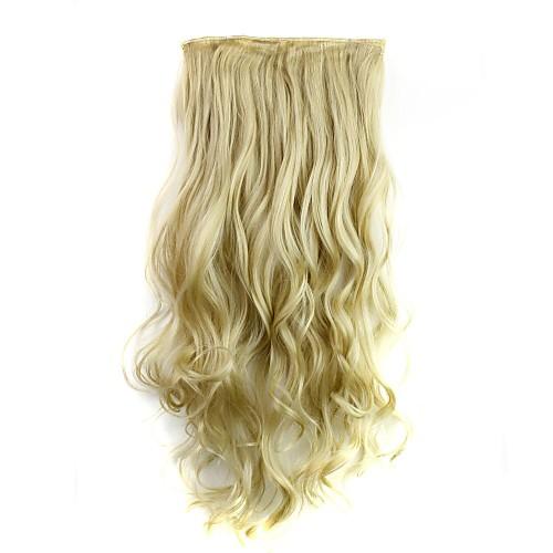 Синтетические экстензии Кудрявый Классика Искусственные волосы 24 дюймовый Наращивание волос Клип во / на Блондинка Жен. Повседневные / Без шапочки-основы, Светло-русый