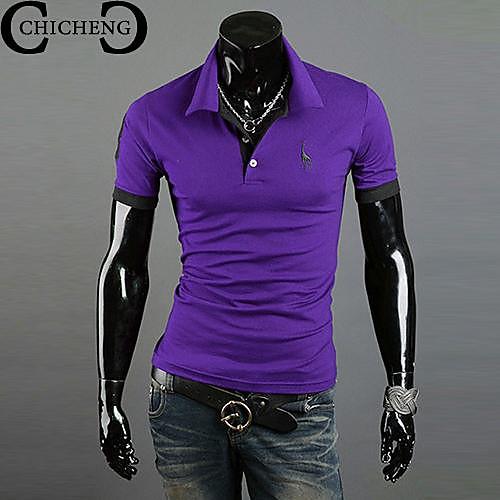 chicheng мужская рубашка шеи олень вышивка вскользь стенд воротник тонкий рубашку поло плюс размер XXXL