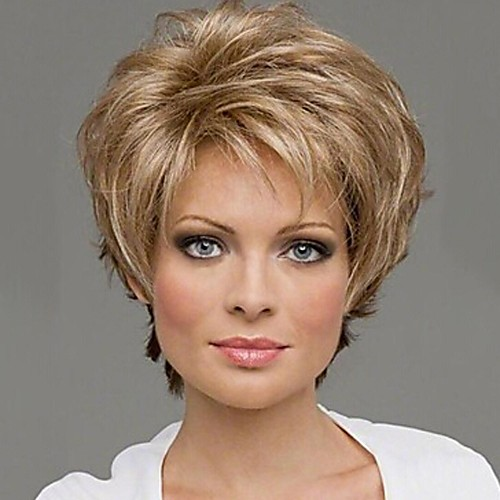 Парики из искусственных волос Кудрявый Блондинка Отбеливатель Blonde Искусственные волосы 10 дюймовый Жен. Блондинка Парик Без шапочки-основы