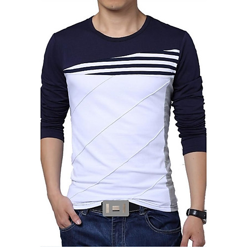Men's Sports Active Plus Size Cotton Slim T-shirt - Striped / Color Block Black & White, Patchwork Round Neck White XXXL / Long Sleeve / Summer