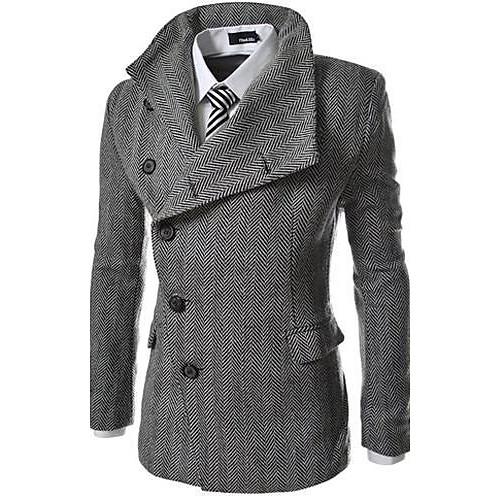 Мужской Однотонный Пальто,На каждый день,Хлопок / Полиэстер,Длинный рукав-Серый от Lightinthebox.com INT