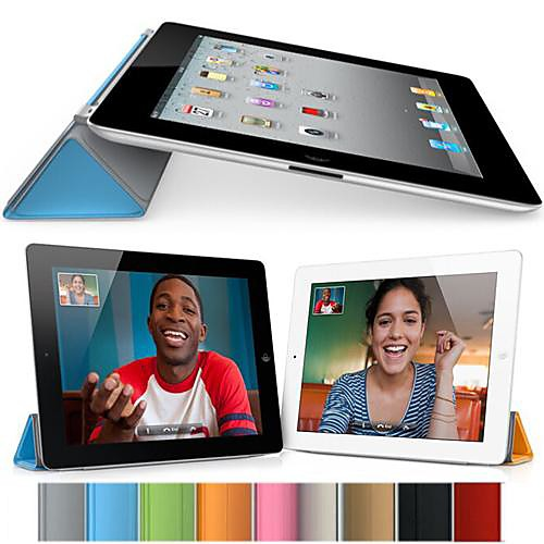 DF Pure Color Auto Sleep/Wake Up PU Folding Cover for iPad 2/3/4 (Assorted Colors)