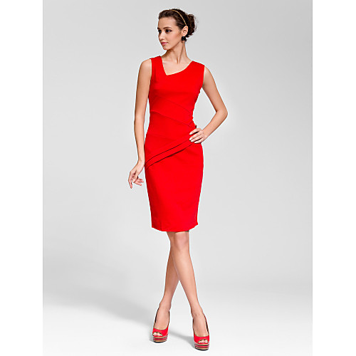 Sheath/Column V-neck Knee-length Polyester Semi-Formal Dress