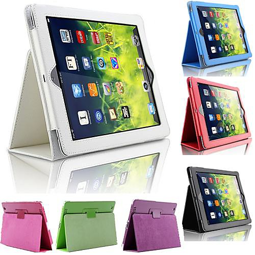 DF Solid Color Full Body PU Leather Case with Stand for iPad 2/3/4(Assorted Colors)