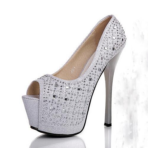 женская обувь Peep Toe стилет каблук насосы с кристально свадебные туфли больше цветов, доступных (lightinthebox