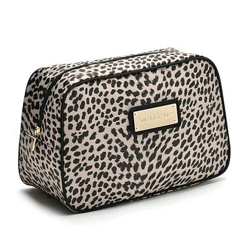 Европейский стиль печати леопарда нейлона макияж мешок женщин