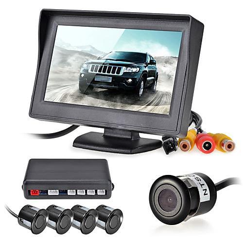 12v 4 парковочные датчики ЖК-дисплей монитора видеокамера автомобиля обратный Резервное копирование радар Комплект системы Звуковой сигнал