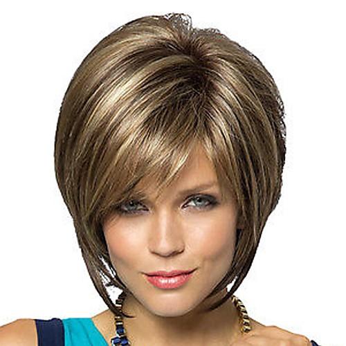 Парики из искусственных волос Прямой Блондинка Стрижка боб / Стрижка под мальчика / С чёлкой Коричневый и блондинистыми прядками Искусственные волосы Жен. Блондинка / Коричневый / Блондин Парик