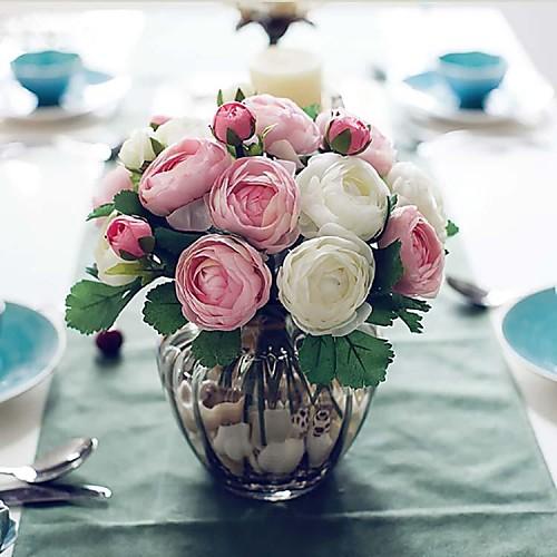Искусственные Цветы 1 Филиал Простой стиль Розы Букеты на стол, Бордо