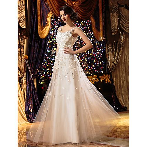 А-силуэт Совок шеи В пол Тюль Свадебные платья с Вышивка Цветы от LAN TING BRIDE