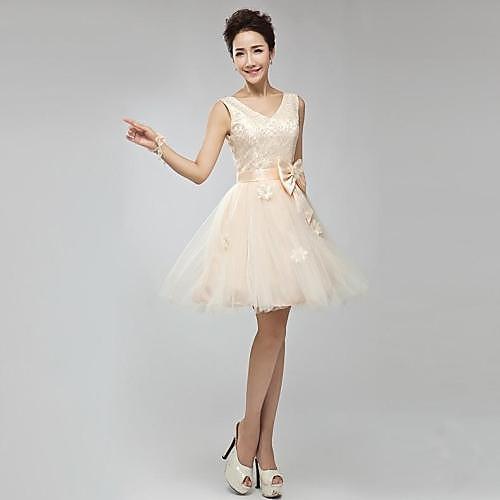 -Line V-образным вырезом длиной до колен тюль платье невесты
