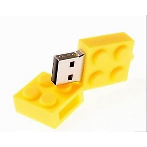 2GB флешка диск USB USB 2.0 пластик Компактный размер brick, Желтый