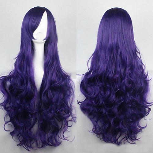 Парики из искусственных волос Кудрявый / Свободные волны / Естественные волны Стиль Ассиметричная стрижка Без шапочки-основы Парик Фиолетовый Темно-синий Искусственные волосы 25 дюймовый Жен.