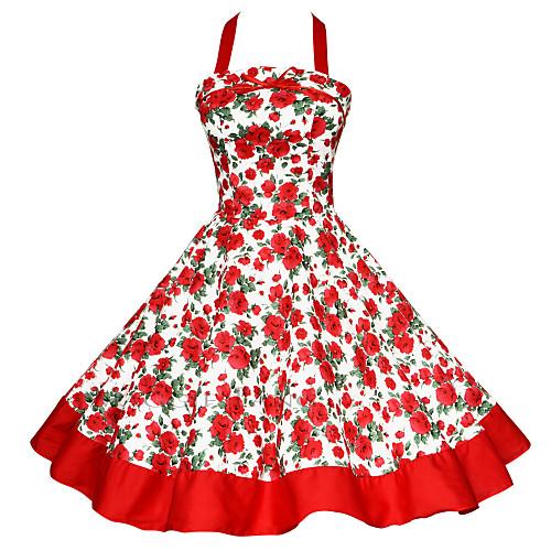 Women's Plus Size Party Vintage A Line Dress - Color Block Backless / Print Halter Neck Cotton Black Red Green XL XXL XXXL