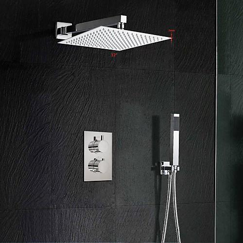 Смеситель для душа - Современный Хром На стену Медный клапан Bath Shower Mixer Taps / Латунь / Две ручки двумя отверстиями