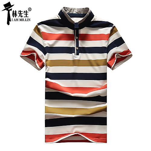linxiansheng мужская повседневная полосы короткий рукав Поло / футболки