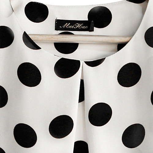 Для женщин На каждый день Большие размеры Лето Блуза Круглый вырез,Простое Горошек С короткими рукавами,Полиэстер,Полупрозрачная от Lightinthebox.com INT