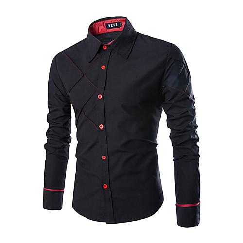 Мужской Однотонный Рубашка На каждый день,Смесь хлопка,Длинный рукав,Черный / Белый от Lightinthebox INT