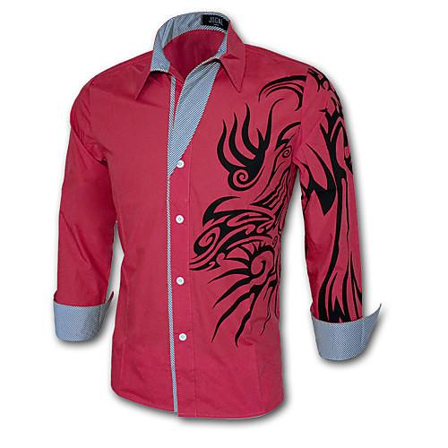 Мужской С принтом / Однотонный Рубашка На каждый день / Для офиса / Для занятий спортом,Смесь хлопка,Длинный рукав,Черный / Белый от Lightinthebox.com INT