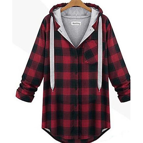 Для женщин На каждый день Уличный стиль Большие размеры толстовка с капюшоном куртки С принтом V-образный вырез ЭластичнаяХлопок <br>