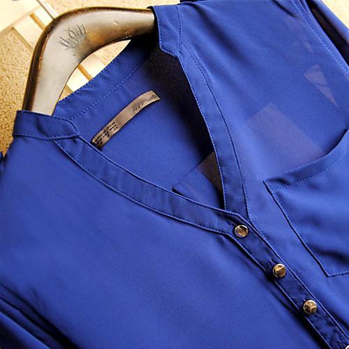TS Блуза TS , V-образный вырез , Длинный рукав , Шифон от Lightinthebox INT
