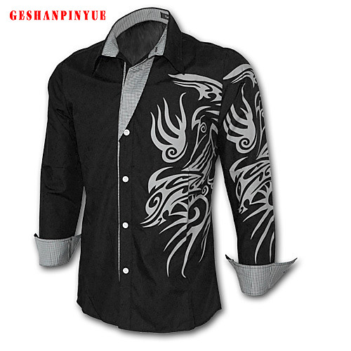 Мужской С принтом / Однотонный Рубашка На каждый день / Для офиса / Для занятий спортом,Смесь хлопка,Длинный рукав,Черный / Белый