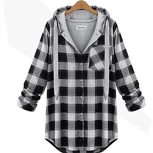 Для женщин На каждый день Уличный стиль Большие размеры толстовка с капюшоном куртки С принтом V-образный вырез ЭластичнаяХлопок от Lightinthebox.com INT