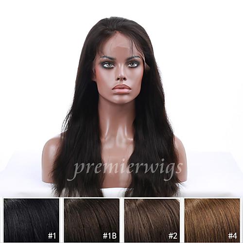 Натуральные волосы Полностью ленточные Парик Прямой Парик 130% Плотность волос Природные волосы Парик в афро-американском стиле 100% ручная работа Жен. Короткие Средние Длинные / Прямой силуэт
