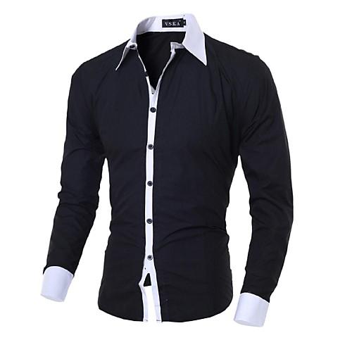 Мужской Однотонный Рубашка На каждый день,Хлопок,Длинный рукав,Черный / Синий / Розовый / Белый / Серый от Lightinthebox.com INT