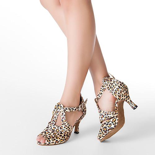 Жен. Обувь для латины / Обувь для сальсы Сатин На каблуках Пряжки Каблуки на заказ Персонализируемая Танцевальная обувь Цвет-леопард / Кожа