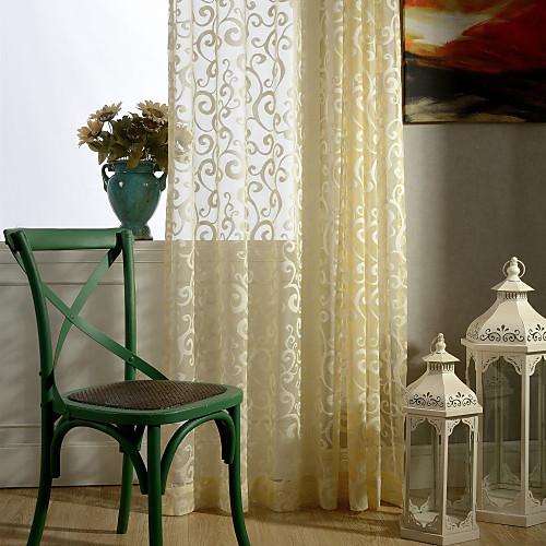 готовые прозрачные шторы оттенки одна панель светло-желтая / жаккард / спальня