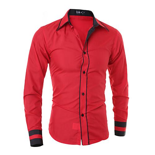 Мужской В полоску / Однотонный Рубашка На каждый день / Для офиса / Большие размеры,Смесь хлопка,Длинный рукав,Черный / Синий / Красный / от Lightinthebox.com INT