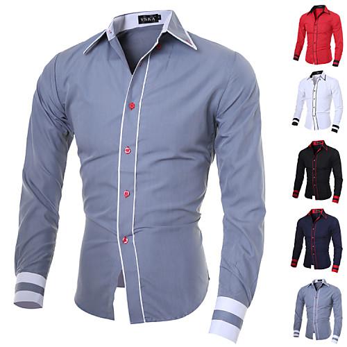 Мужской В полоску / Однотонный Рубашка На каждый день / Для офиса / Большие размеры,Смесь хлопка,Длинный рукав,Черный / Синий / Красный / от Lightinthebox INT