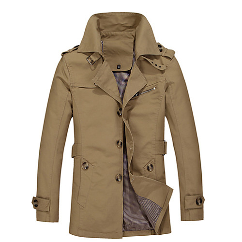 Solid Color Plus Size Men's Clothing Loose Autumn Medium-long Trench Male Outerwear
