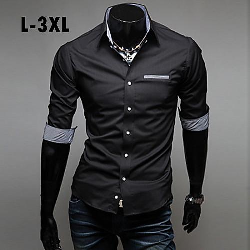 Мужской Однотонный Рубашка На каждый день,Другой,Длинный рукав,Черный / Синий / Красный / Белый от Lightinthebox.com INT