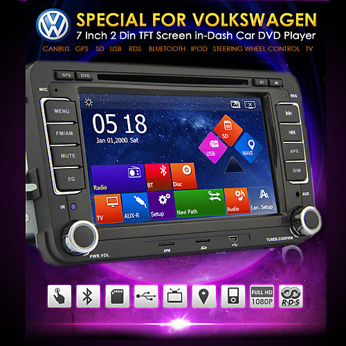 DVD-плеер для автомобиля Volkswagen With CAN-BUS, Bluetooth, GPS, Ipod-Input, RDS, радио, ATV, сенсорный дисплей от Lightinthebox.com INT