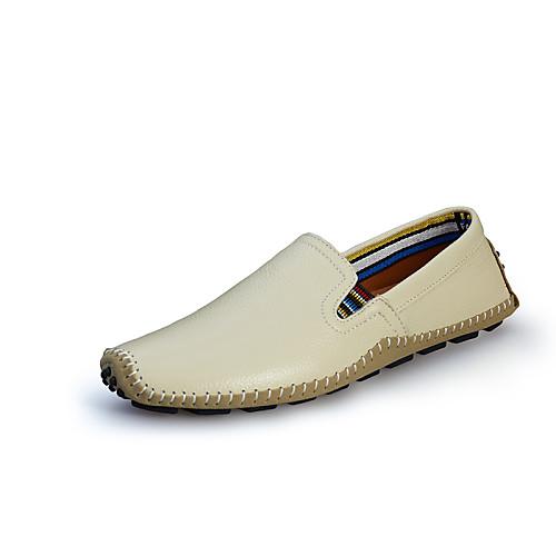 Черный Бежевый Желтый Коричневый Синий-Для мужчин-Для офиса Повседневный-Наппа Leather-На плоской подошве-Удобная обувь-Мокасины и Свитер