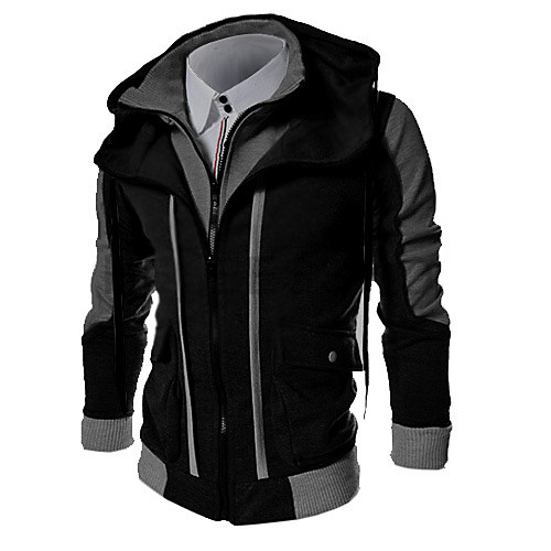 Для мужчин На каждый день Простое Большие размеры толстовка с капюшоном куртки Контрастных цветов Хлопок Полиэстер Длинный рукав зима