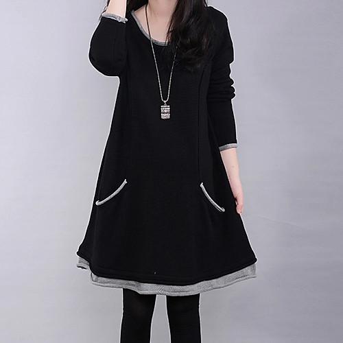 Жен. Большие размеры Платье - Однотонный Мини Черный / Свободный силуэт