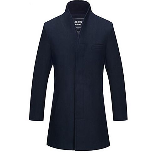 Мужской Однотонный Пальто,На каждый день,Твид,Длинный рукав-Черный / Синий / Красный от Lightinthebox INT