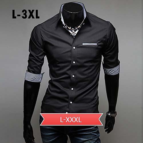 Мужской Однотонный Рубашка На каждый день,Другой,Длинный рукав,Черный / Синий / Красный / Белый от Lightinthebox INT